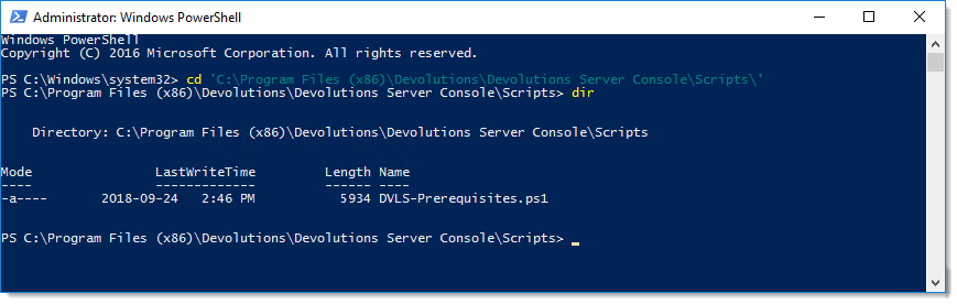 Location of DVLS-Prerequisites PowerShell script